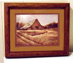 Vintage Barn Art Framed Signed Ruane Manning 1982 by designfrills, $17.99