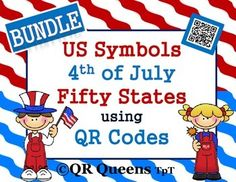 QR Queens' products are awesome and students love using our QR Codes! US SYMBOLS, 4th of JULY & the FIFTY STATES using QR CODES 1st-5th $