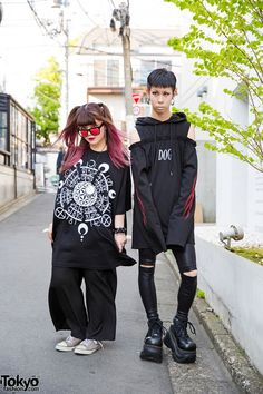 Kasumi is wearing red-lensed sunglasses, a t-shirt and pants are from Never Mind the XU, as are her accessories. Her sneakers are resale Converse. favorite shop.  Cham is wearing a hoodie with bare shoulders by Drinkscancode. He got it from Never Mind the XU, along with his leggings, accessories.