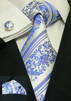 Blue and White Floral Necktie Set