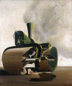 La apisonadora y la rosa, 1937. Óscar Domínguez. Oil on canvas