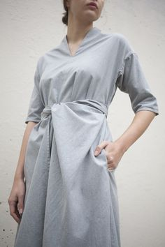 Cosmic Wonder Wrapped Flared Dress in Heather Grey