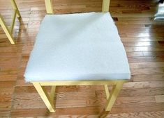 How to make a chair. Add Upholstered Cushions To Chairs - Step 5 Kitchen Chair Cushions, Upholstery Cushions, Furniture Upholstery, Kitchen Chairs, Dinning Chairs, Dining Room, Dining Area, Dining Table, Coffee Table Makeover