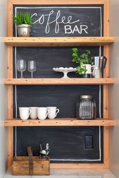 Coffee Bar with Salvaged Wood Shelves and Chalkboard Paint Backsplash in Kitchen