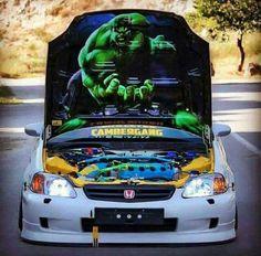 The Hulk Honda hood Honda Civic Coupe, Honda Civic Hatchback, Honda Civic Si, Honda S2000, Soichiro Honda, Civic Eg, Motos Honda, Engin, Honda Cars