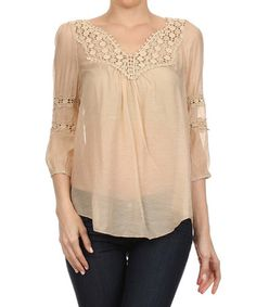 Look at this #zulilyfind! Taupe Crochet-Accent Peasant Tunic by Kokette #zulilyfinds