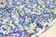 Japanese Fabric Vintage Floral rayon lawn  blue pink yellow