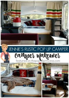 This rustic lodge-style pop up camper makeover is perfect for both him and her. I love the neutral colors.