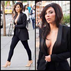 Sassy Blog Kim K step out with HAIR #sassyblog #sassy #fashionista #cleavage #blazer #bighair #dontcare #kimkardashian #kimwest #mrswest #kimye #fashion #sassyhair