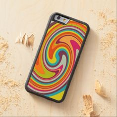 Colorful Retro Funky Circling Twist Pattern Carved® Maple iPhone 6 Bumper