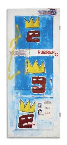 """Rubber 1984 BASQUIAT Jean-Michel   © DR CARACTÉRISTIQUES Peinture Dimensions : 85 x 208 cm Technique mixte / porte en bois Initiales """"JMB 84"""" / verso"""