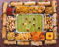 The most impressive football party spread? A snack stadium!