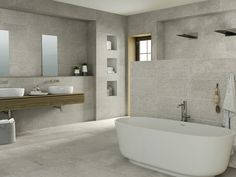 Shower wall instead of glass panel, provides ideal position for bath and makes shower more cosy Grey Wall Tiles, Grey Floor Tiles, Ceramic Wall Tiles, Grey Flooring, Wall Tile Adhesive, Floor Grout, Decoration Gris, Dark Grey Walls, Feature Tiles
