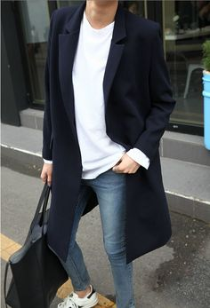 long black coat, blue jeans, white t-shirt. Casual street fall women fashion outfit clothing style apparel @roressclothes closet ideas