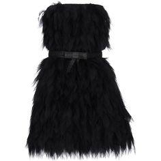 Fendi Short Dress ($945) ❤ liked on Polyvore featuring dresses, black, zip dress, animal dress, sleeveless dress, deep v-neck dress and mini dress