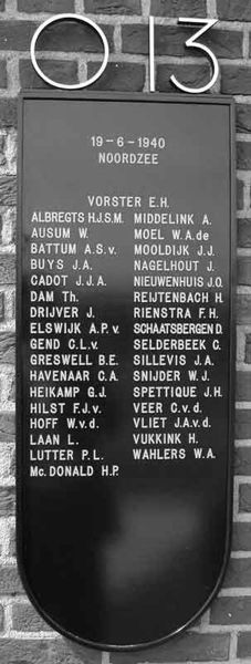 All crewmembers of the lost O13 on the dutch monument at Den Helder Navy base