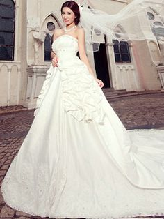 $275.00 A-line Tube Top Cathedral Train Satin Sequin Wedding Dresses  #Cheap #wedding #dresses #
