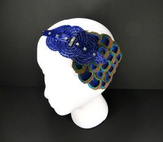 Art Deco 1920s Headband, Great Gatsby Party, Daisy Buchanan, Flapper Headpiece Royal Blue Beaded Peacock Feather Fascinator on Etsy, $39.35 AUD