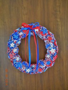 4th of July/Patriotic/Americana Fabric Wreath. Visit Happy2BCrafty on Etsy for more!