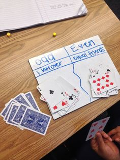 The Odd and Even Card Game. Make a t chart explaining the difference between odd and even numbers, remove face cards and let the student/child sort the odds and evens!
