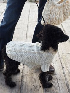 "No Bones About It Dog Coat - Intermediate Level - Knit ANOTHER reason to learn how to knit cable stitch!!! My ""girls"" (Yorkie Hannah and Havanese Zoe) would look so cute in this!"