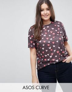 ASOS CURVE T-Shirt In Ditsy Heart Print