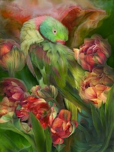 Parrot In Parrot Tulips art by Carol Cavalaris. A colorful parrot nestled in a garden of parrot tulips.