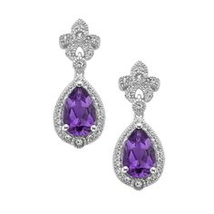 Fred Meyer Jewelers | Amethyst and Created White Sapphire Earrings - 126