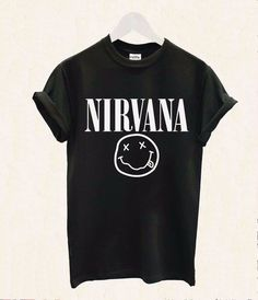 2016 femmes t-shirt Nirvana Smiley Rock Band impression coton Casual drôle Shirt pour Lady blanc noir Top Tee Hipster