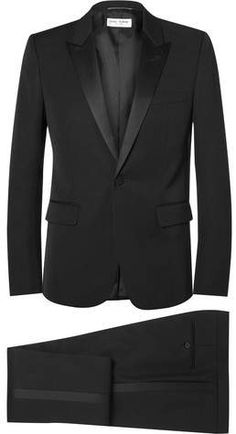 59cbd992d5515 Lanvin Black Slim-Fit Satin-Trimmed Wool And Mohair-Blend Tuxedo