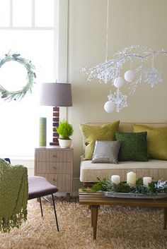 I love the DIY mobile and wreaths... and all of the shades of green