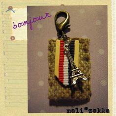 "Bonjour !! A ""Paris"" style handmade key chain"