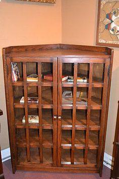 Arts and Crafts Mission Solid Oak Corner Bookcase Cabinet