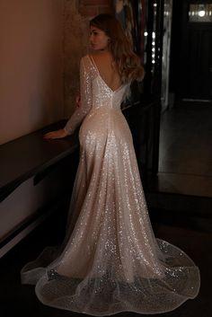Wedding dress Feilin by Olivia Bottega. A-line elegant wedding dress. Made of Exclusive beading. Elegant Wedding Dress, Wedding Gowns, Wedding Dress Bling, Diamond Wedding Dress, Jenny Packham, Glitter Dress, Glitter Wedding, Long Sleeve Wedding, Dream Dress