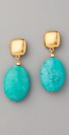 Kenneth jay lane Turquoise Bead Drop Earrings in Metallic | Lyst