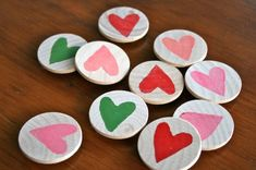 Heart Magnets: Give Mom some love with a set of these sweet and simple wooden circles.