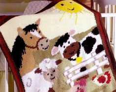 Crochet Pattern PDF for Baby Blanket Afghan with Animal