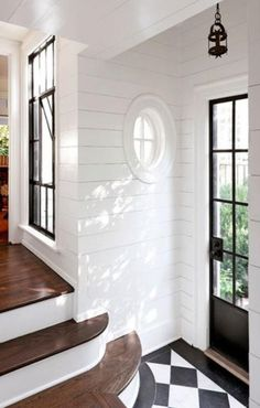 Super Cleaning White Walls Home Ideas Style At Home, Cleaning White Walls, White Hallway, White Shiplap, White Building, Black And White Tiles, White Trim, Black Trim, Grey Trim