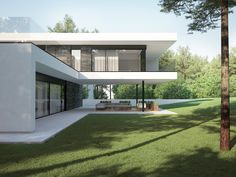 Modern house in Kaunas by NG architects www. Minimalist House Design, Minimalist Architecture, Modern Architecture House, Architecture Design, Village House Design, House Front Design, Modern Villa Design, Contemporary Design, Home Building Design