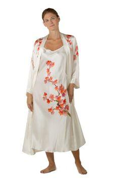 Silk Nightgown Robe Set (Royal Peacocks) Hand Painted Sleepwear Gift; TexereSilk