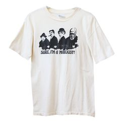 Vintage 80s Marx Bros Three Stooges Sure, Im a Marxist! T-Shirt Adult Small/XS  This is a great gift for any 3 Stooges fan. The shirt is Hanes brand from the 1980s, and is an off white/ivory color with the black print on the front. The print features the Marx Brothers and Karl Marx himself with the quote, Sure, Im a Marxist!  Please message me with any questions!  ---------------------------------------------------------------------------------------------  For more sweatshirts &amp...