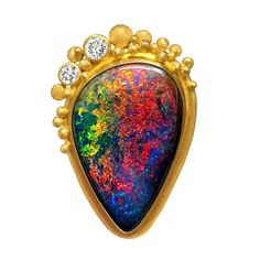 Lilly Fitzgerald One of a Kind Fine Rainbow Pinfire Boulder Opal Diamond Pin   From a unique collection of vintage brooches at https://www.1stdibs.com/jewelry/brooches/brooches/