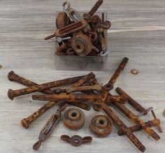Rusty Wings, Large Steel Cut Nails, Ball Bearing ~ Metal Industrial Salvage ~ Scrap ~ Welding ~ Assemblage ~ Sculpture ~ Altered Art   #1-38 by HighDesertRust on Etsy
