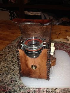 Take your own tea to next steampunk tea duel , Tea jar holster with two 1 dram glass vials for storing honey/ sugar/ creamer etc jar comes filled with loose leaf orange pekoe tea  $70