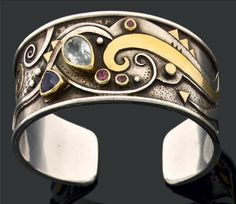 Cuff bracelet | Linda Ladurner. Silver, gold, and various stones