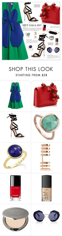 """MET GALA 2017 NEW YORK"" by makeupgoddess ❤ liked on Polyvore featuring Delpozo, Gianvito Rossi, KAROLINA, Monica Vinader, Marco Bicego, Repossi, Chanel, NARS Cosmetics, Cover FX and Kaleos"
