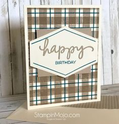 Concord and 9th Plaid Background Masculine Card Ideas Michelle Gleeson