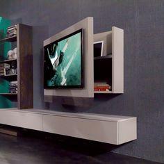 Meuble tv crystal suar et r sine pieds m tal une cr ation for Meuble tv avec rangement dvd