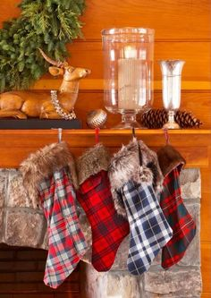 Create a rustic Christmas feel by making plaid stockings the centerpiece of your mantel. More decorating ideas for holiday mantels: Christmas Mantels, Rustic Christmas, Simple Christmas, Christmas Home, Christmas Tree Decorations, Christmas Wreaths, Christmas Crafts, Christmas Ideas, Holiday Ideas