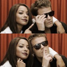 Kat Graham and Paul Wesley<----- this actually took me a minute to realize this was Kat Paul Wesley Vampire Diaries, Vampire Diaries Cast, Vampire Diaries The Originals, Elena Gilbert, Candice Accola, Stefan Salvatore, Katherine Pierce, Nina Dobrev, Kai Parker